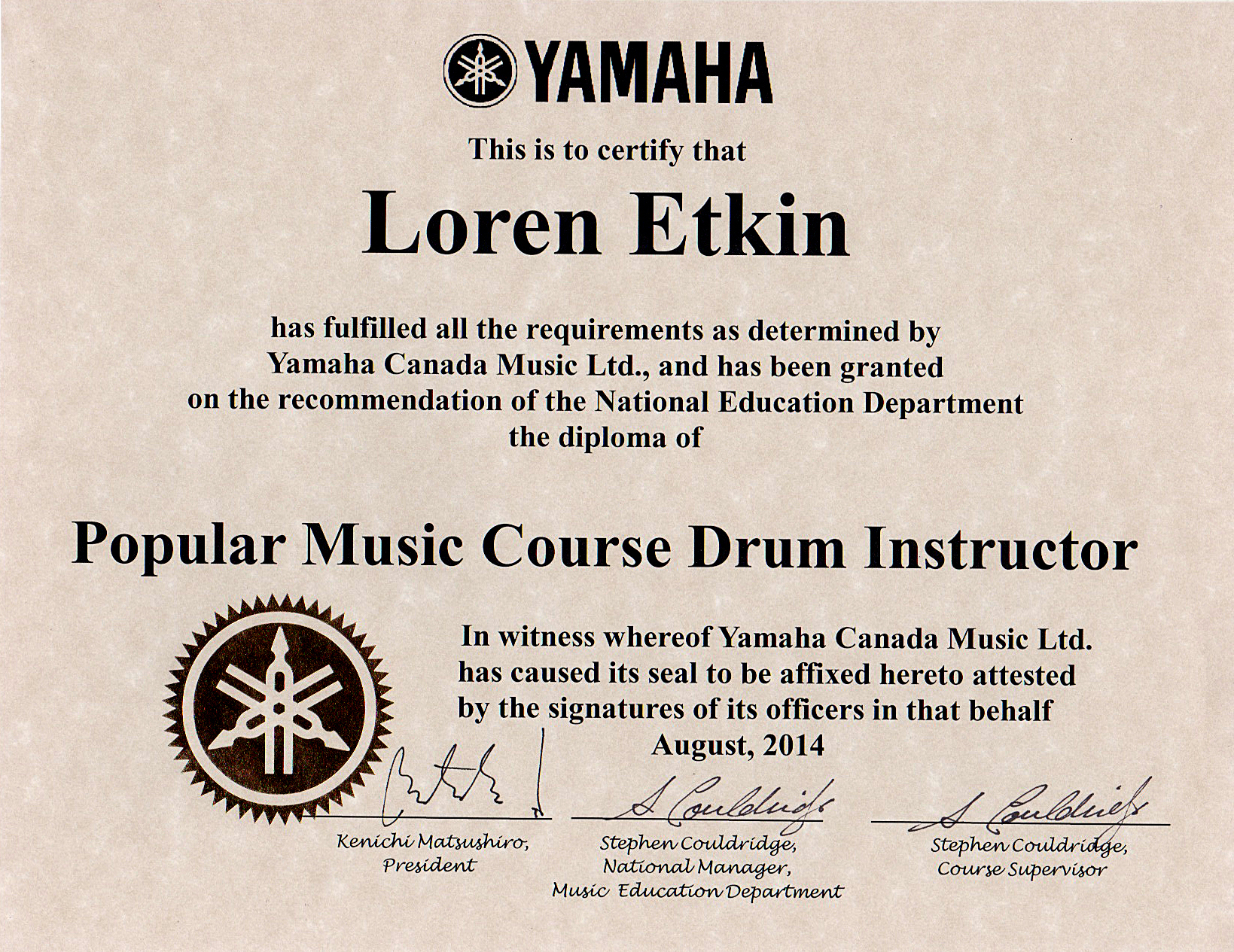 Drum lessons loren etkin vancouver drum lessons for Yamaha music school locations